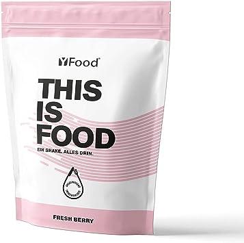 YFood Berry | Batido en Polvo | Sustituto de comida sin gluten ni lactosa | 17 comidas, 26 vitaminas y minerales | proteína en polvo | batido de ...