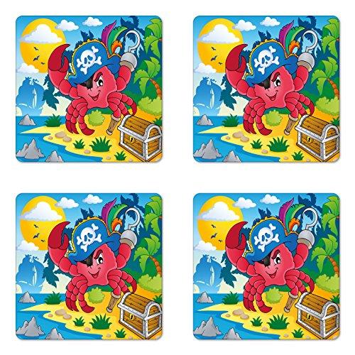 Lunarable Pirate Coaster Set of Four, Cute Cartoon Crab with Eye Patch Pirate Hat Hook Pegleg Deserted Island Coast Jungle, Square Hardboard Gloss Coasters for Drinks, Multicolor (Hook Peg Leg)