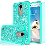 LG Aristo Case,LG Phoenix 3 / Fortune / K8 2017 Case with HD Screen Protector for Girls Women,LeYi Glitter Cute Design [PC Silicone Leather] Dual Layer Shockproof Protective Phone Case for LG LV3 Mint