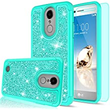 LG Aristo Case,LG Risio 2 Case,LG Phoenix 3/ Fortune/ Rebel 2 LTE/ K8 2017 Case with HD Screen Protector for Girl Women,LeYi Glitter Cute [PC Silicone Leather] Protective Case for LG LV3 TP Mint