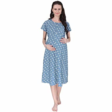 6c7d7380b72 VIXENWRAP Baby Blue Printed Maternity Dress  Amazon.in  Clothing ...