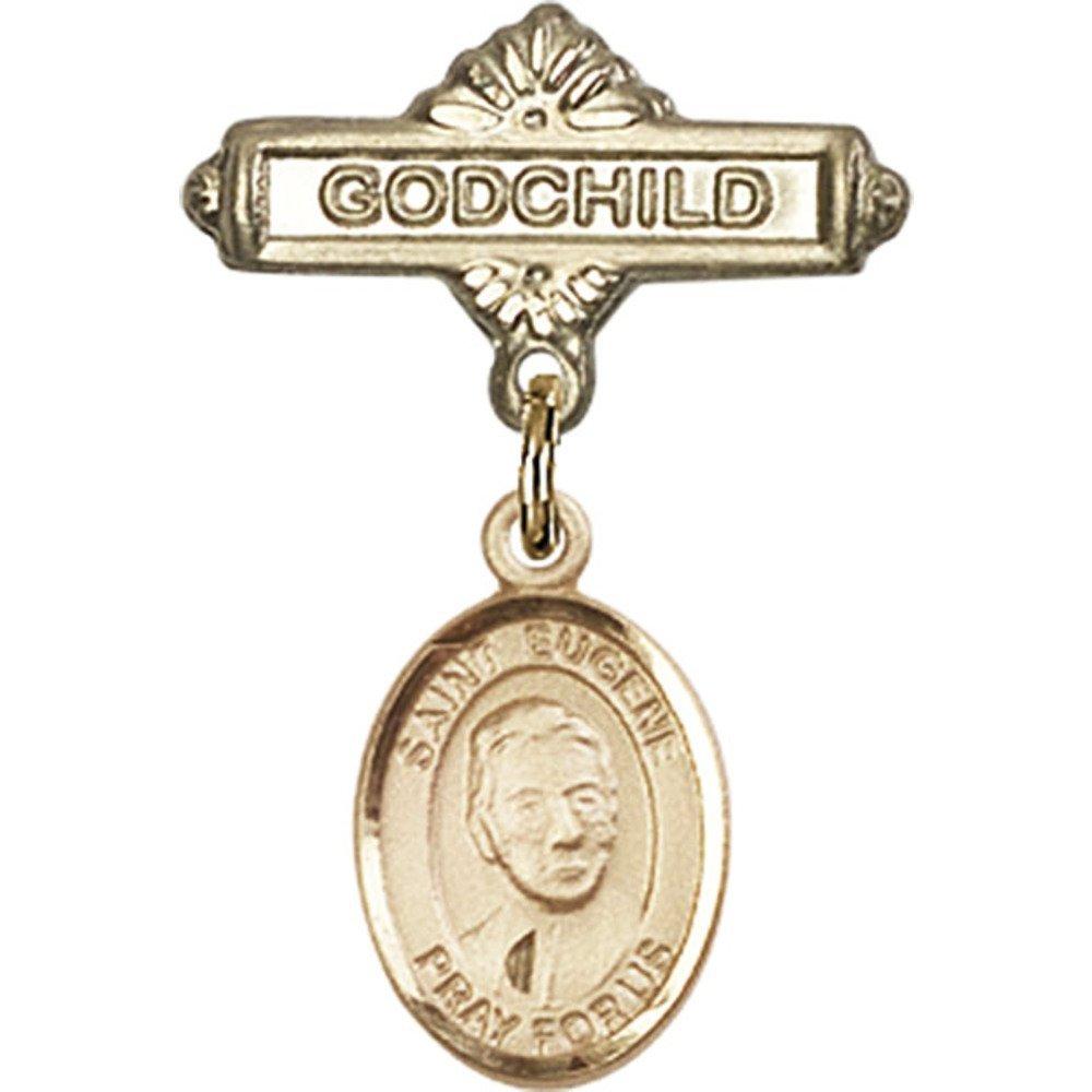 ゴールドFilled Babyバッジwith聖Eugene de MazenodチャームとGodchildバッジピン1 x 5 / 8インチ   B00PQ7WMLM