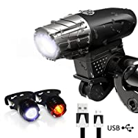 Karrong Bike Lights, LED Bike Light Set USB Rechargeable,Waterproof Front Bicycle Lights Headlight and Taillight,300 LM 4 Modes Cycle Light Safety for Night(Two taillights)
