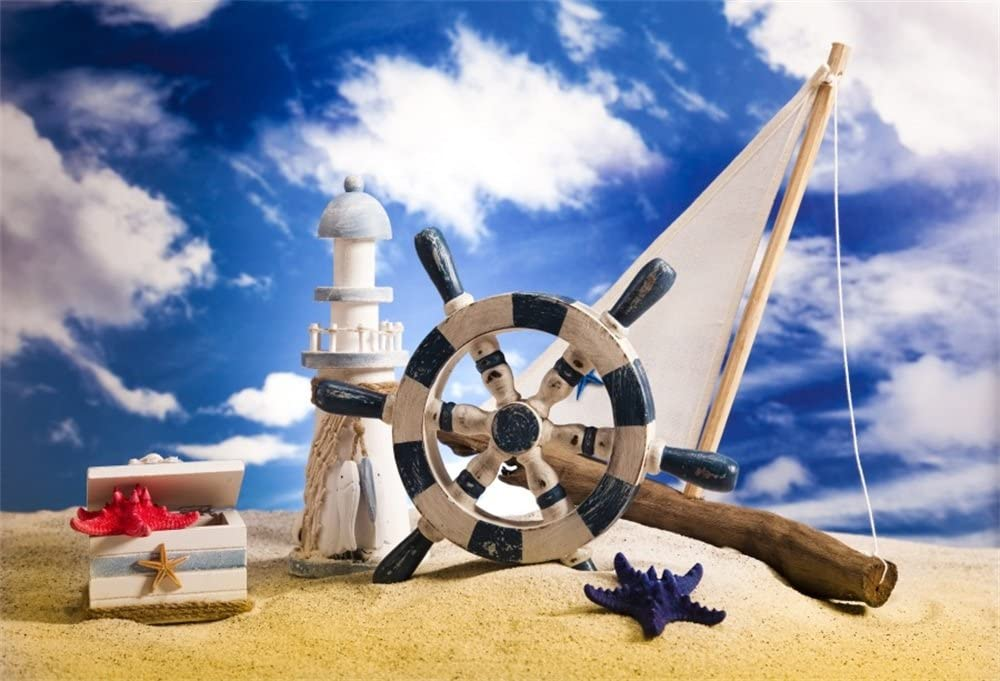 8x8FT Vinyl Photo Backdrops,Ships Wheel,Nautical Seaman Theme Photo Background for Photo Booth Studio Props