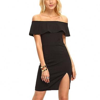 4121e303d141 Sexy Ladies Black Off Shoulder Ruffle Split Mini Dress Short Sleeve Bodycon  Club Wear Dress