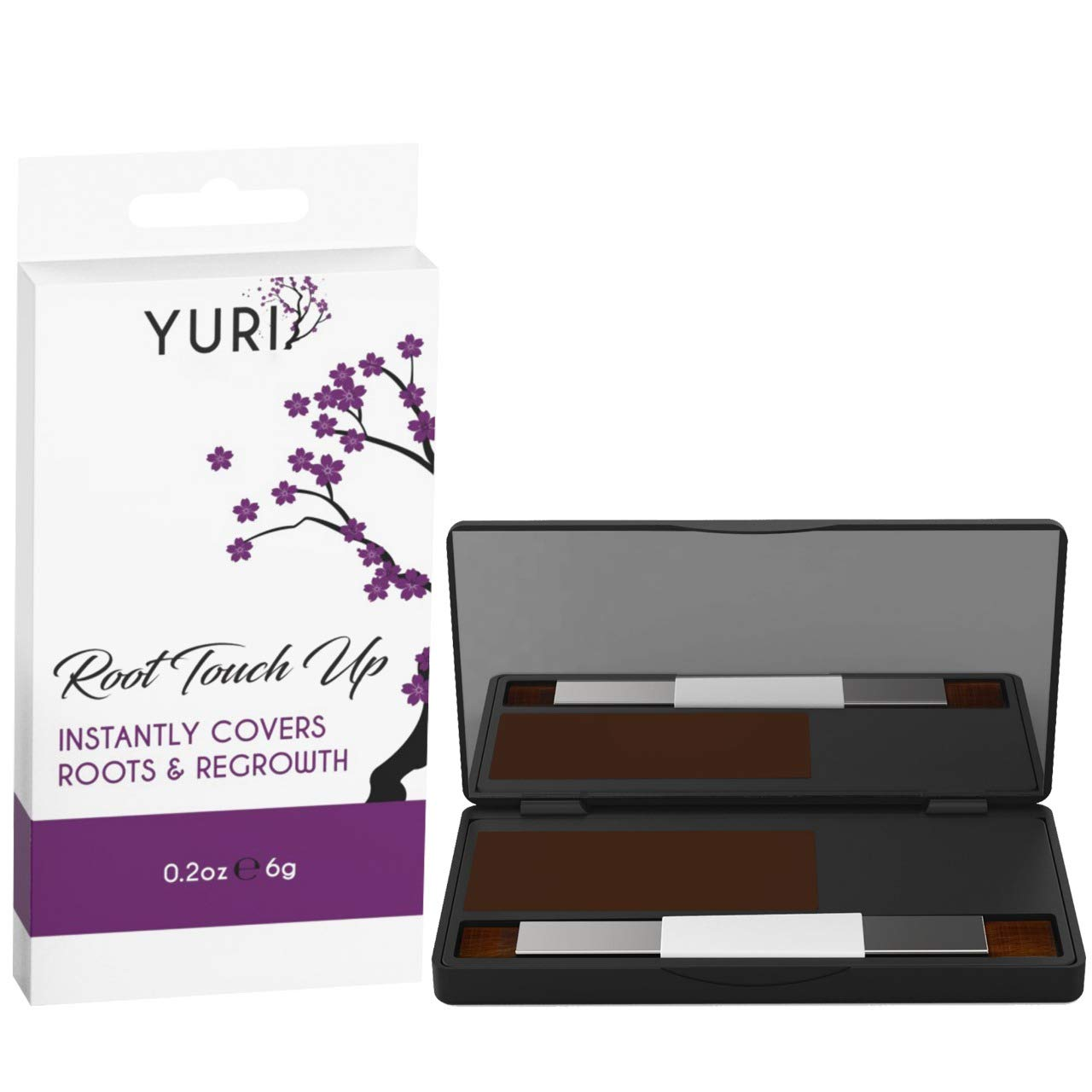 Yuri Premium Instant Root Touch Up Powder - Brown - Temporary Root Concealer for Extending Time Between Coloring - Lasts Until You Shampoo