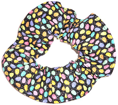 Jelly Beans Glittler Black Fabric Hair Scrunchie Handmade by