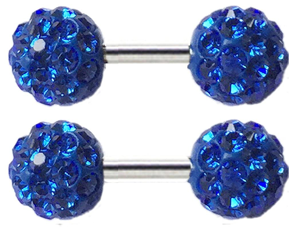 Thenice 1 Pair Titanium Steel Earrings Full Crystal Barbell Earrings Ball Ear Bone Screws 6 Mm Ball Double