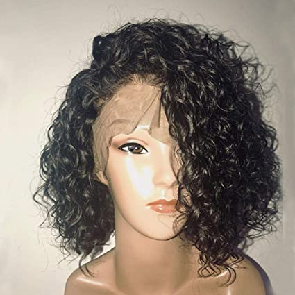 Amazon com: HGH hairpieces Curly Lace Front Wigs Glueless Natural