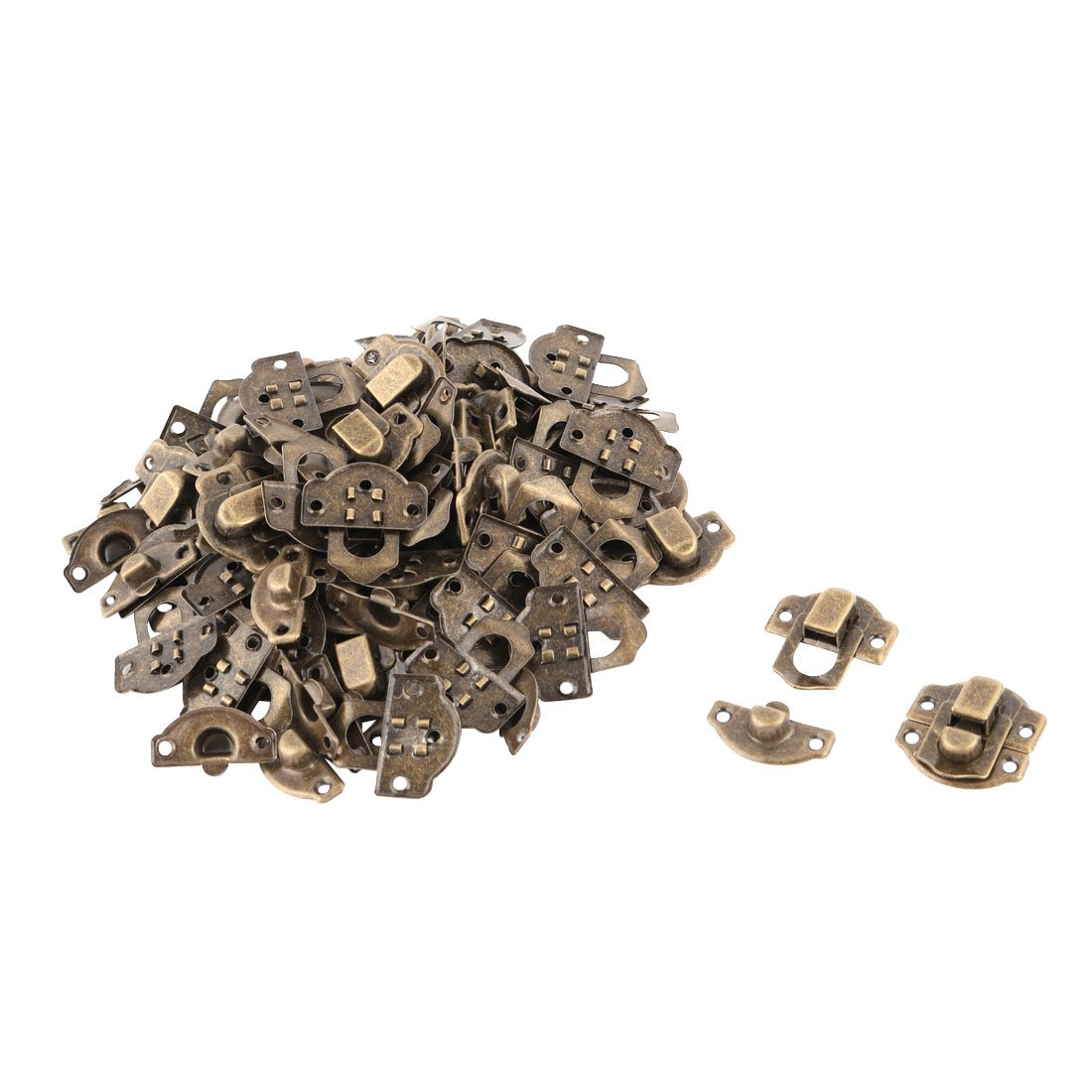 uxcell Metal Home Bag Hasp Box Luggage Case Latch Buckle Hook Lock 50pcs Bronze Tone