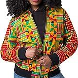 ARTFFEL-Women Casual Africa Dashiki Print Zipper Up Bomber Jackets Yellow XL