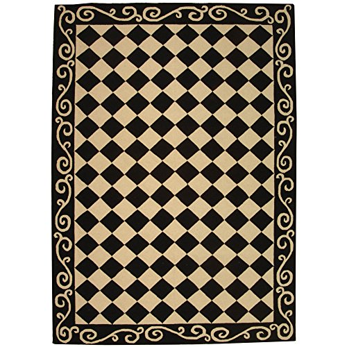 safavieh chelsea collection hk711a handhooked black and ivory premium wool area rug 6u0027 x 9u0027