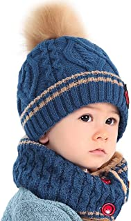 Zhen+ Unisex Baby Kinder Mütze Schal Set 0-8 Jahre Jungen Mädchen Herbst Winter Strickmütze + Wolle-Schlauchschal Winddicht Warme Weiche Wintermütze