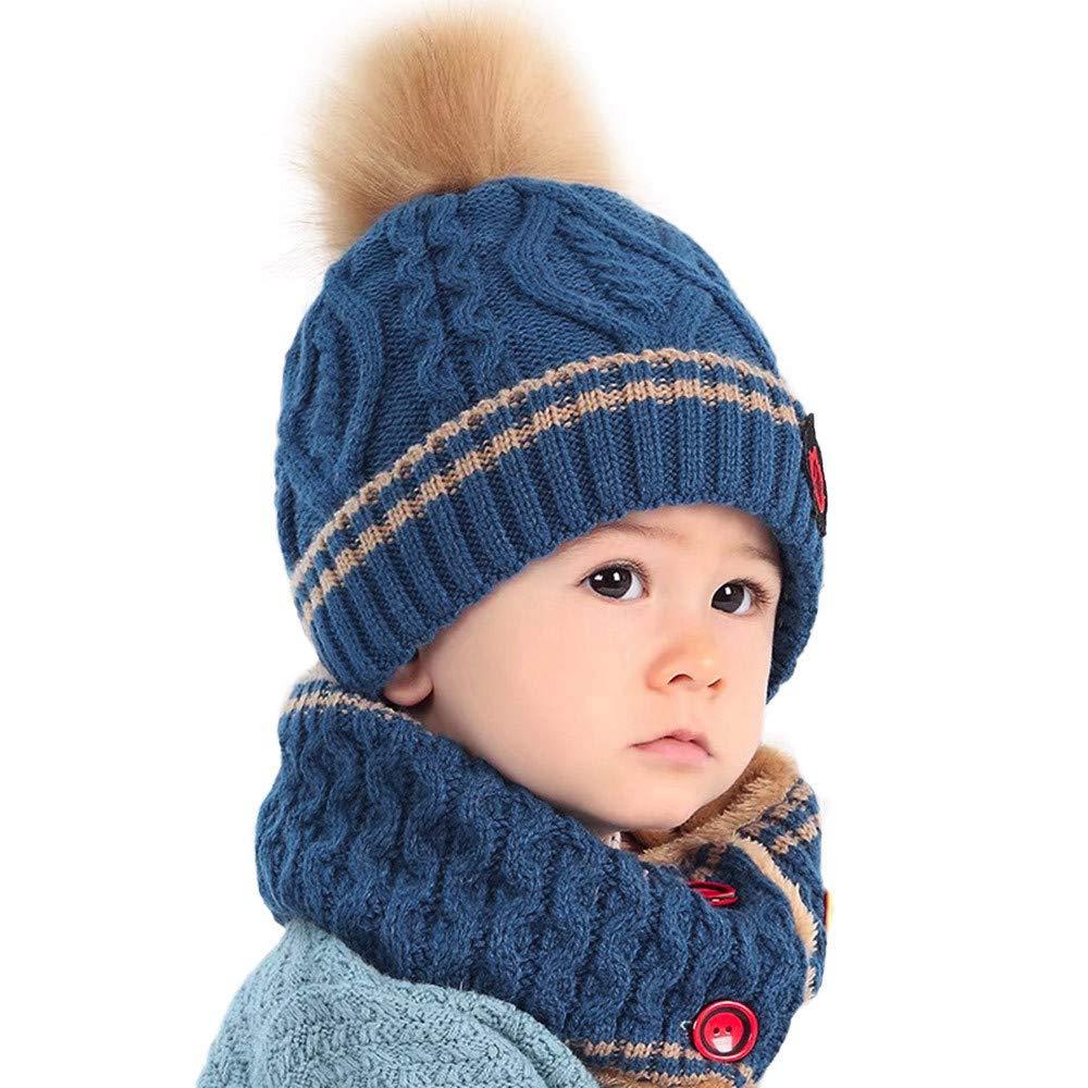 Yesmile Baby Halstü cher Kinder Winter Mü tze Schal Warme Baby Kleinkinder Mä dchen Jungen Strickmü tzen Haube Kapuze Schal Hü te mit Niedlich Muster