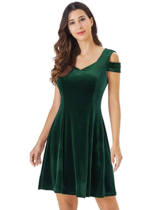 Women's Cold Shoulder Little Cocktail Party A-line Skater Dress