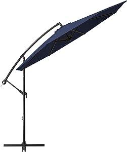 TUMUCUTE 10ft Patio Offset Umbrella Cantilever Patio Umbrella Hanging Market Umbrella Outdoor Umbrellas with Crank and Cross Base,for Lawn, Garden, Deck, Backyard & Pool-Navy Blue