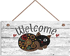 "MAIYUAN Welcome Sign, Whimsical Cat 6"" x 12"" Sign, Rustic Decor, Housewarming Gift(E4-WH242)"