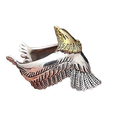"""""""Kanggest Anillo de Plata Hombres Tamaño Ajustable Moda Forma de Eagle de cuerda trenzada Anillo de Apertura Metal-Ajustable para Día de los Estilo vintage """" (Oro): Juguetes y juegos"""