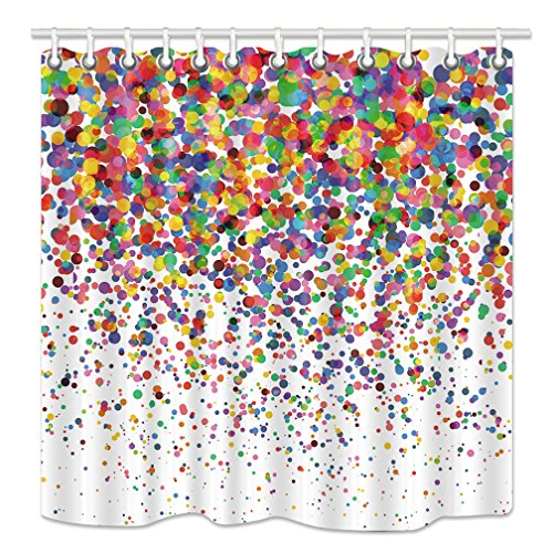 (NYMB Colorful Confetti Falling Shower Curtain, Wedding Festival Party Decor Bath Curtains, Fabric Bathroom Decorations Shower Curtains 12PCS Hooks Included, 69X70 Inches)