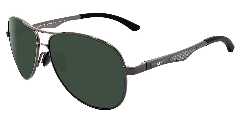 LZXC Polarized Sunglasses for Men Outdoor Sport Eyewear Unbreakable Spring Hinge Ultra-Light Metallic Metal Frame HD Lens