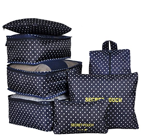 7 Set Travel Packing Organizer,Waterproof Mesh Durable Luggage Travel Cubes,1 Shoe Bag (navy dot) by Txobag
