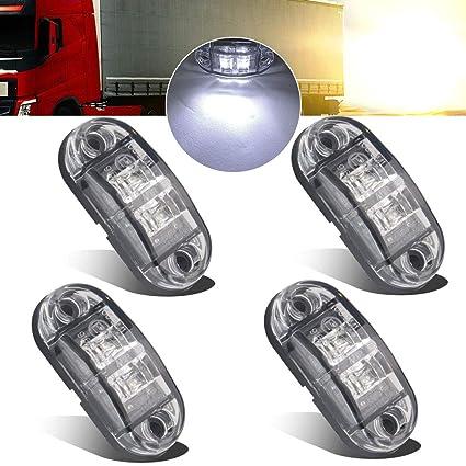 Justech 4x 2 Diodes Red Side Marker Lights Side Fender Marker Assembly Waterproof LED Position Side Lamps 12V 24V For Trailer Van Caravan Truck Lorry Car Bus