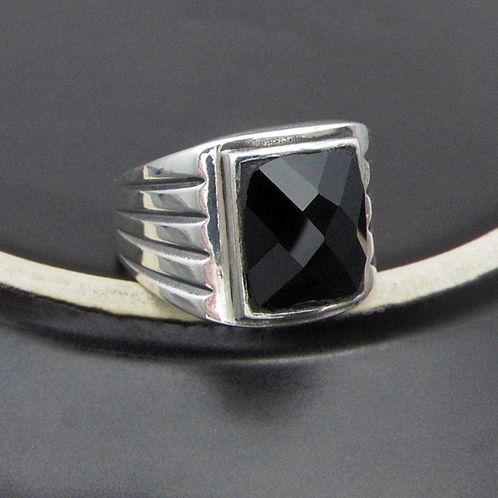 MAFYU 925 Sterling Silver Ring Natural Black Onyx Mens Open Ring Gift to Dear