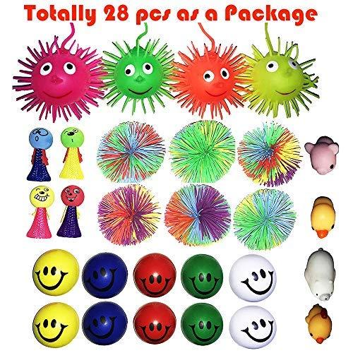 28 PCS Puffer Stress Relief Toys Value Relax Toy Balls, Squeeze Ball Puffer Ball Assortment Hand Exercise Balls (Puffer The)