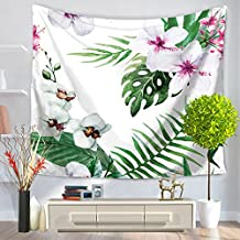 "YJ Bear Flowers and Plants Pattern Non-woven Weaving Yoga Mat Blanket Table Cloth Cover Rectangle Indian Mandala Boho Beach Towel Throw Wall Hanging Tapestry 59"" X 51"""
