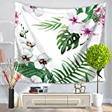ChezMax Modern Square Polyester Tapestry Multi Purpose Decorative Wall Hanging Mural Art White Flower Pattern 79'' X 59''
