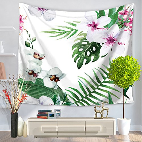 ChezMax Modern Square Polyester Tapestry Multi Purpose Decorative Wall Hanging Mural Art White Flower Pattern 59