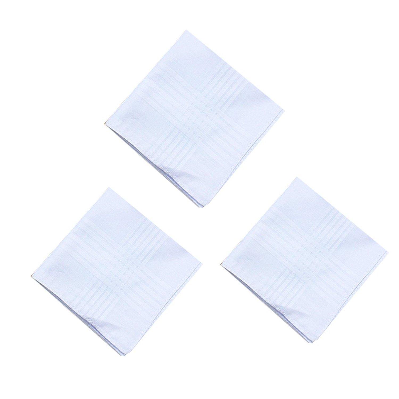 6 Strips Border Mens White Cotton Handkerchiefs Pack