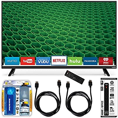 Vizio D50-D1 - D-Series 50-Inch Full Array LED Smart TV Accessory Bundle includes TV, Screen Cleaning Kit, Power Strip with Dual USB Ports and 2 HDMI Cables