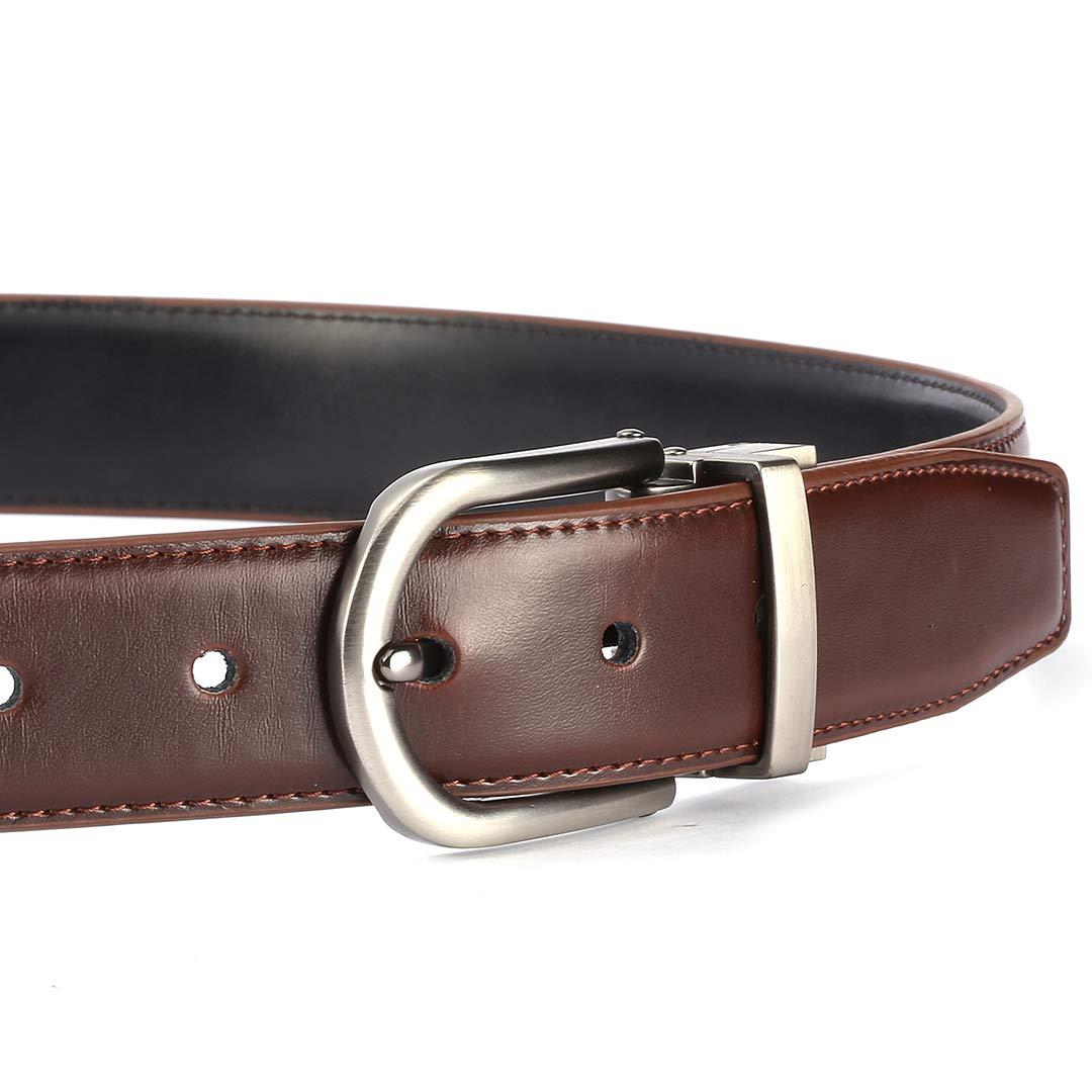 Regolabile e Bicolore Xhtang Cintura in pelle da uomo Cintura in metallo da uomo Cintura reversibile in metallo