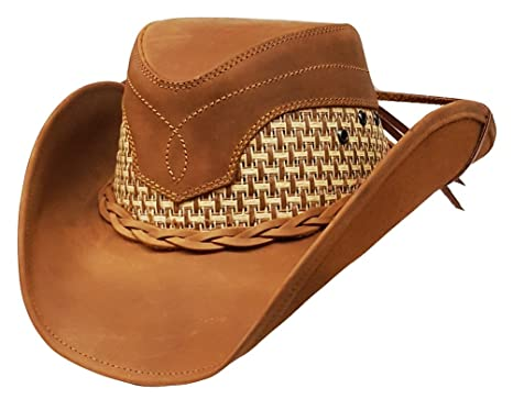 Image Unavailable. Image not available for. Colour  Modestone Unisex  Leather Cowboy Hat Breezer Straw ... c9837b7ada5