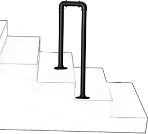 Lanna Shop Handrails for Outdoor Steps, 2-Step U-Shaped Matte Black Transitional Stair Railing, for Indoor and Outdoor Garden Corridor Support Bar(Size:45cm/1.5ft)
