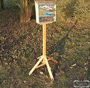 FDV-Station-OS schwarz anthrazit dunkelgrau Holz Nistk/ästen biologische Garten Insektenhaus als funktionale Gartendeko KOMPLETT mit Holzrinde-Naturdach und F/ütterungsstation /ÖLBAUM Insektenhotel