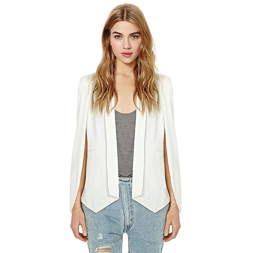 Froomer Women Lapel Split Long Sleeve Blazer Office OL Cape Suits Outwear (Asia XXL, White)