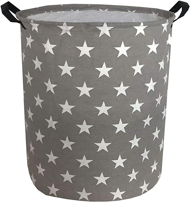 "Sanjiaofen 19.7"" Large Laundry Hamper Bucket Waterproof Coating Storage Bin Collapsible Washing Basket Home Nursery Toy Organizer,Canvas Storage Basket with Stylish Design(Stars)"