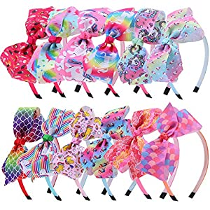 Elcoho 12 Styles Unicorn Bow Headband Unicorn Theme Hair Bows Teeth Comb Hair Hoops Hair Accessories for Girls, 12 Pieces
