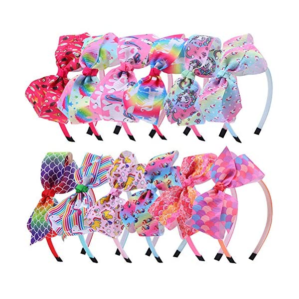 Elcoho 12 Styles Unicorn Bow Headband Unicorn Theme Hair Bows Teeth Comb Hair Hoops Hair Accessories for Girls, 12 Pieces 3