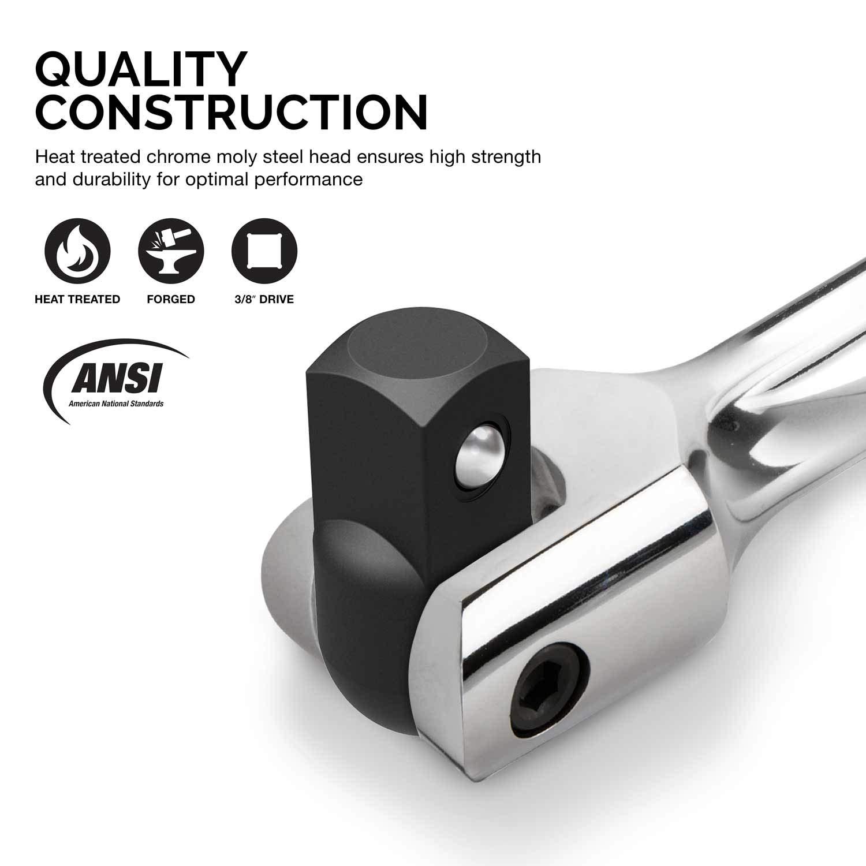 "15/"" Length Cr-V Steel Neiko 00338A 3//8 Inch Drive Premium Breaker Bar 180 Flex Head"