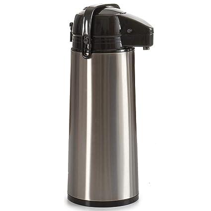 TENDENCIA ÚNICA Termo dispensador de acero inoxidable. Cabezal y asa de polipropileno negro. Capacidad 1,9 litros