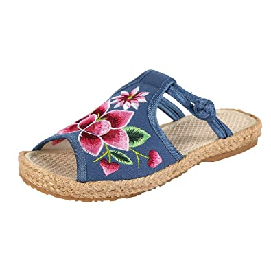 1094adb98 Women's Flat Wedges Espadrille Sandals Embroidered Flip Flops Slippers Fish  Mouth National Old Beijing Cloth Shoes