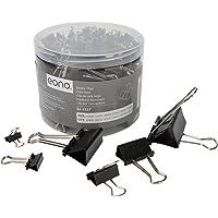Eono Foldback Clips Six Assorted Sizes Metal Binder clips , 51MM / 41MM / 32MM / 25MM / 19MM / 15MM , Pack of 100,Black