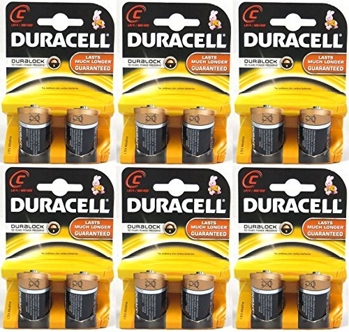 Duracell C Size Alkaline Plus Battery - Alkaline - 1.5V DC - 12 Batteries (6 X 2 Count Packs)