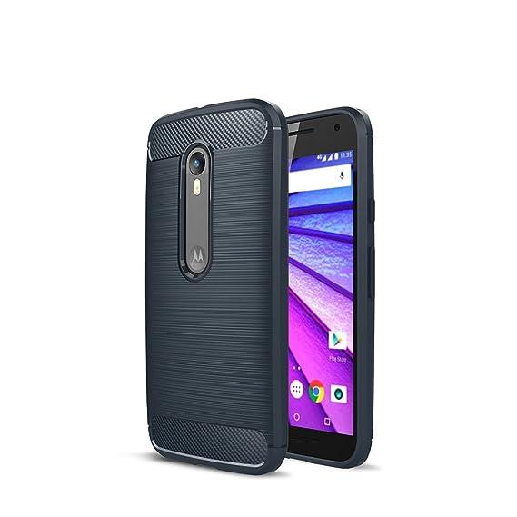 CRUST CarbonX Brushed Metal & Carbon Fiber TPU Back Case Cover for Motorola Moto G3 /