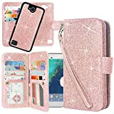 LG X Power 2 Case, LG X Charge/LG Fiesta LTE/LG K10 Power/LG LV7 Case, Linkertech Detachable 2 in 1 Glitter Shiny PU Leather Flip Wallet Case with Card Slots and Wrist Strap (Glitter Rose Gold)
