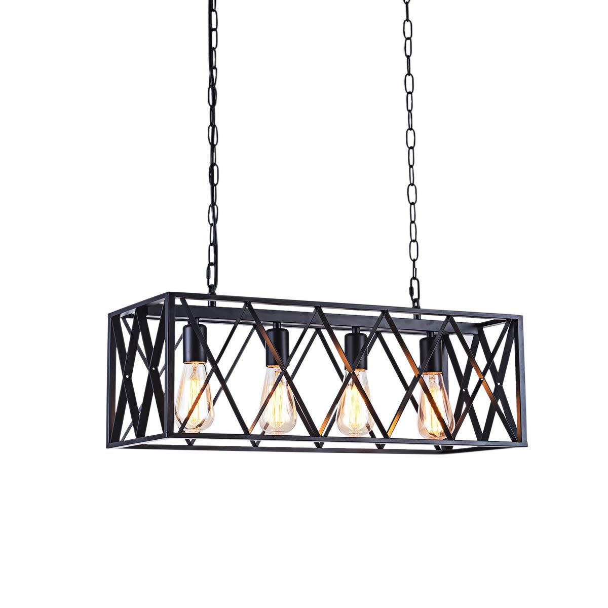 Diborui Industrial Kitchen Island Lighting with 4 E26 Sockets, Rectangular Vintage Pendant Light, Farmhouse Hanging Ceiling Light Fixture Metal Retro Chandeliers for Restaurant, Kitchen and Bar, 60W
