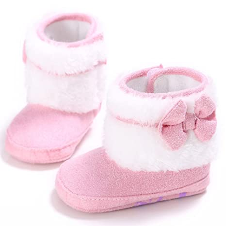 db1d2dea8 zhouba bebé niñas suave suela zapatos de Prewalker con lazo de para cuna de  bebé Invierno